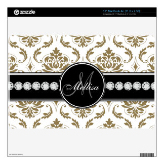 Gold White Damask Diamonds Monogram Skin For The MacBook Air