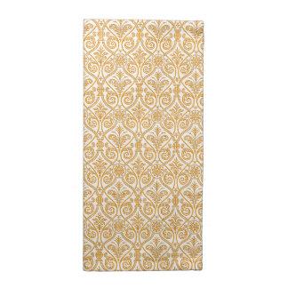 Gold & White Damask Pattern Cloth Napkins