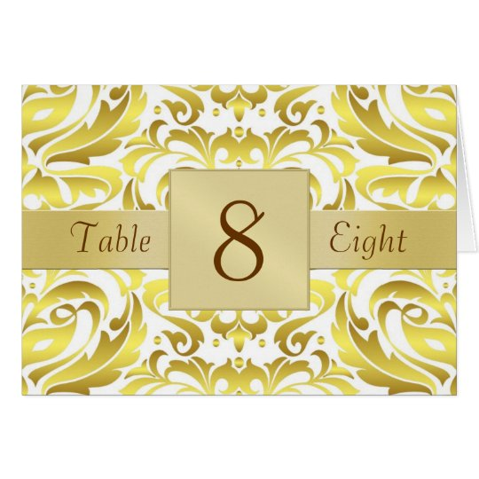Gold & White Damask Table Number Folded Card