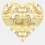 Gold & White Damask Thank You Heart Sticker