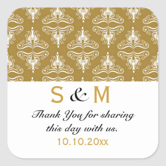 Gold White Damask Thank You Monogram Wedding Square Sticker