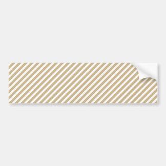 Gold & White Diagonal Christmas Candy Cane Stripes Car Bumper Sticker