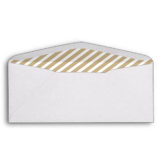 Gold & White Diagonal Christmas Candy Cane Stripes Envelope