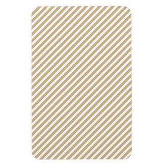 Gold & White Diagonal Christmas Candy Cane Stripes Magnet