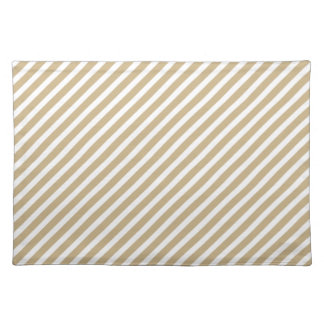 Gold & White Diagonal Christmas Candy Cane Stripes Cloth Placemat
