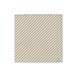 Gold & White Diagonal Christmas Candy Cane Stripes Stone Magnet