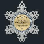 "Gold &amp; white diamonds 50th wedding Anniversary Snowflake Pewter Christmas Ornament<br><div class=""desc"">Elegant gold and white diamonds 50th wedding anniversary customizable template.</div>"