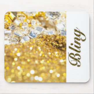 Gold White Diamonds Bling Typography Mouse Pad