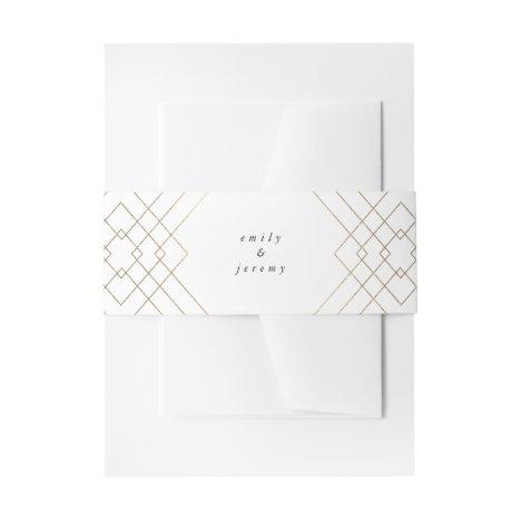 Gold White Elegance Diamond Geo Deco Wedding Invitation Belly Band