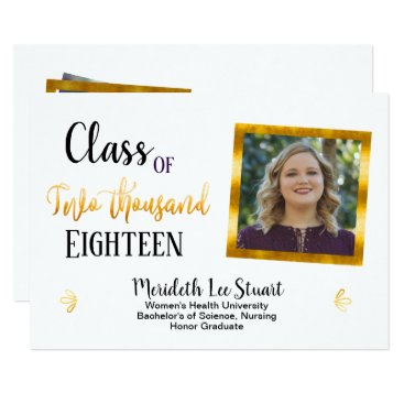 Professional Business Gold White Elegant 2 Photo Graduation Announcement