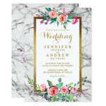 Gold White Elegant Floral Marble Wedding Invite