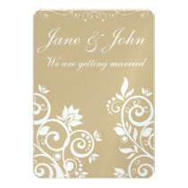 Gold & White - Elegant Floral Wedding invitation