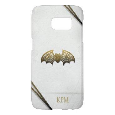 Halloween Themed Gold & White Elegant Initials Custom Bat Phone Samsung Galaxy S7 Case