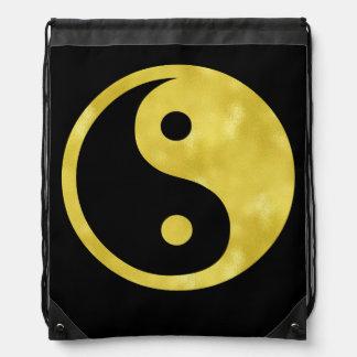 Gold White Faux Foil Metallic Yin Yang Taoism Drawstring Backpack