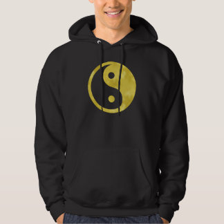 Gold White Faux Foil Metallic Yin Yang Taoism Hooded Pullover