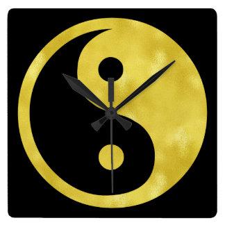 Gold White Faux Foil Metallic Yin Yang Taoism Square Wall Clock