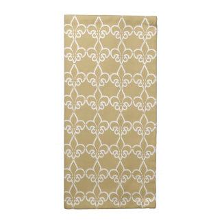 Gold White Fleur de Lis Chain Pattern Napkin