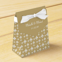 Gold White Fleur de Lis Favor Box