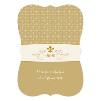 Gold White Fleur de Lis Wedding Event Card