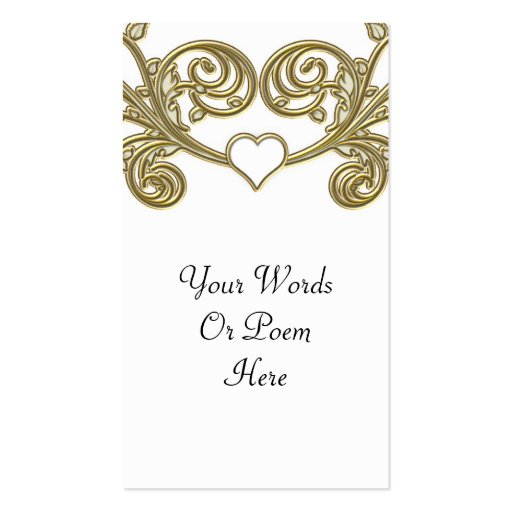 Gold & White Floral Joining Heart Wedding Business Card