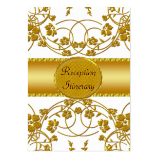 Gold & White Floral Wedding Monogram Large Business Cards (Pack Of 100)