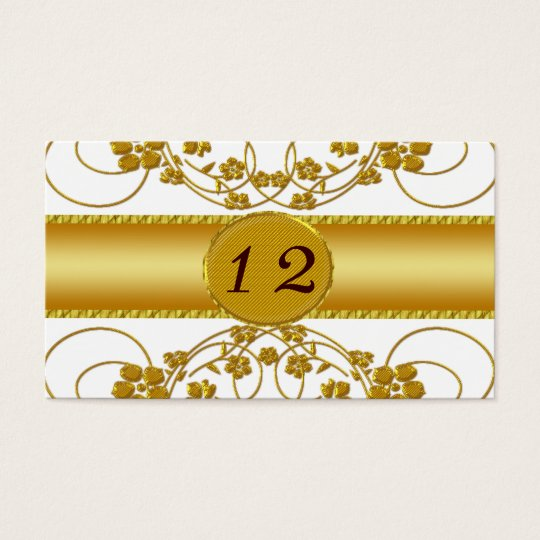 Gold & White Floral Wedding Monogram Business Card