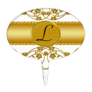 Gold & White Floral Wedding Monogram Cake Topper