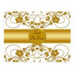 Gold & White Floral Wedding Monogram Postcard