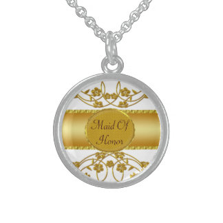Gold & White Floral Wedding Monogram Round Pendant Necklace