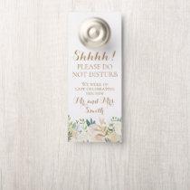 Gold White Flower Wedding Door Hangers