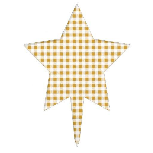 Gold White Gingham Pattern Cake Pick