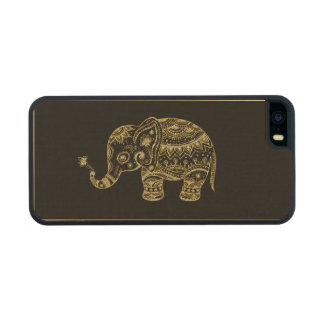 Gold & White Glitter & Sparkles Floral Elephant Wood Phone Case For iPhone SE/5/5s