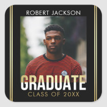 Gold White Graduate Typography | Photo Graduation Square Sticker