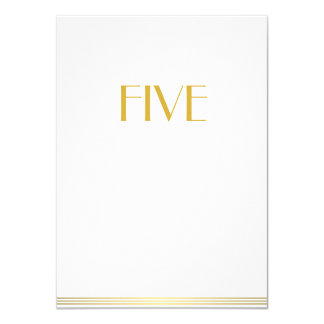 Gold White Great Gatsby Wedding Table Cards Five