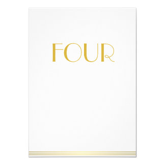 Gold White Great Gatsby Wedding Table Cards Four