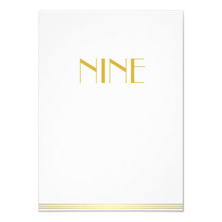 Gold White Great Gatsby Wedding Table Cards Nine