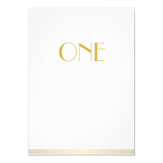 Gold White Great Gatsby Wedding Table Cards One