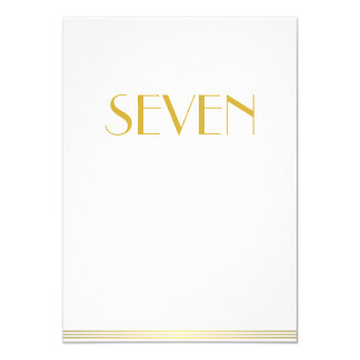 Gold White Great Gatsby Wedding Table Cards Seven