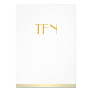 Gold White Great Gatsby Wedding Table Cards Ten
