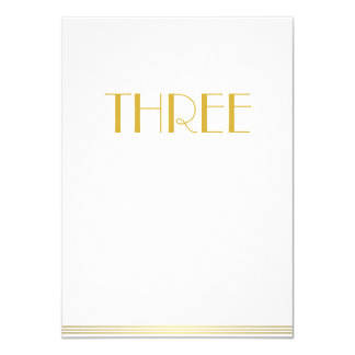 Gold White Great Gatsby Wedding Table Cards Three