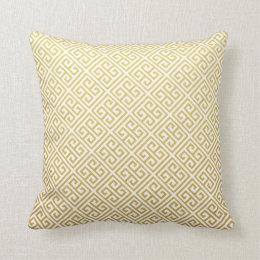 Gold & White Greek Key Throw Pillows