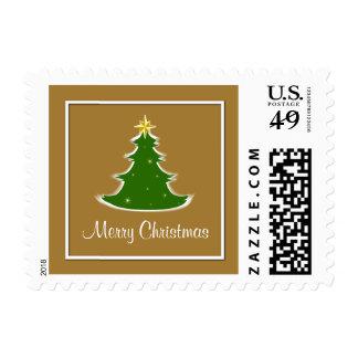Gold White & Green Merry Christmas Tree Postage