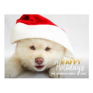 Gold White Happy Holidays Dog Puppy | PHOTO Postcard