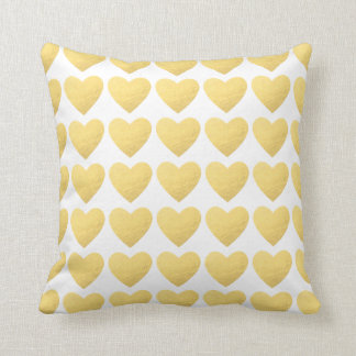 Gold white hearts pattern throw pillow