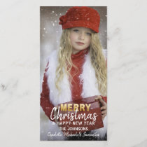 Gold White Holidays Christmas / New Year | PHOTO Holiday Card