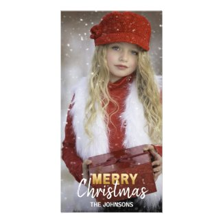 Gold White Holidays MERRY Christmas Family | PHOTO Card
