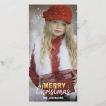 Gold White Holidays MERRY Christmas Family | PHOTO Holiday Card