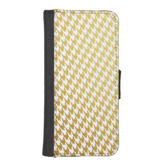 Gold & White Houndstooth iPhone Wallet Case Phone Wallet Case