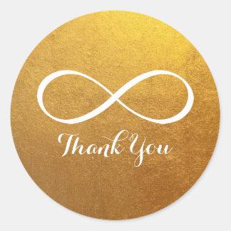 Gold White Infinity Symbol Thank You Classic Round Sticker