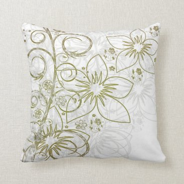 Beach Themed Gold & White Intricate Floral Vine Accent Pillows